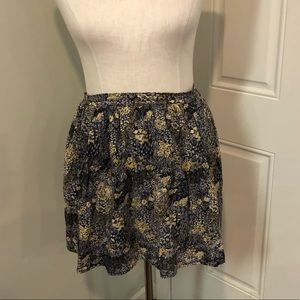Floral mini skirt black yellow boho